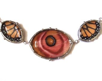 Ovals Necklace with Real Monarch Butterfly and Silk Moth Wings - Nature Art Jewelry - One of a Kind and Handmade