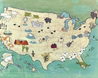 USA Canvas Map Print 18 x 24 and 30 x 40 // Modern Kid Art // US Map Art // Travel Art // Roadtrip Art // Modern Nursery Art