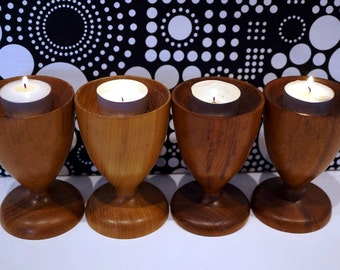 Vintage Mod Candle Holders Teak Wood Midcentury Modern Home and Living Decor and Housewares Wooden Brown Candle Holders Set