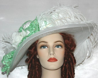 Ascot Hat Kentucky Derby Hat Wide Brim Tea Hat Titanic Hat Somewhere in Time Hat Downton Abbey Hat Edwardian Hat - Green Apple Crystal Fairy