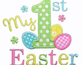 1st Easter Applique, First Easter Embroidery Design, Machine Embroidery Design, Easter Egg Applique, Instant Download