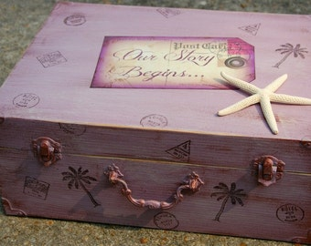 WEDDING CARD BOX, Card and Gift Table, Purple, Beach Wedding, Travel Wedding, Shabby Chic Wedding