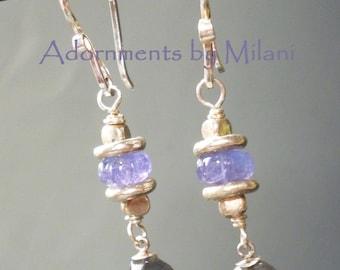 Labradorite Tanzanite Earrings Gray Purple Gemstones Sterling Silver Beaded - Stratus