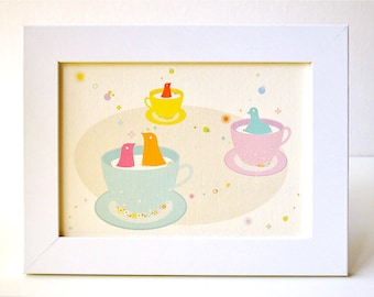 Framed Spinning Teacups Print