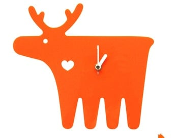 Orange Moose Wall Hanging Clock