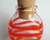 Orange Stripe Glass Mini Stash Jar