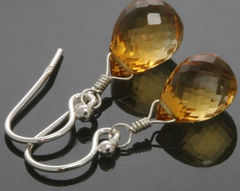 Golden Citrine Earrings. Sterling Silver Ear Wires. Genuine Citrine. November Birthstone. Teardrop Earrings. f13e055