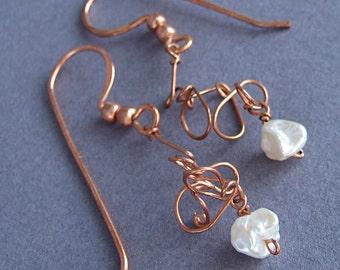 Pearl Copper Twist Earrings