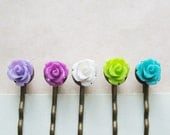 Flower Hair Pin Set.  Hair Accessories. Bobby Pins Set of Five. Turquoise Berrymelon