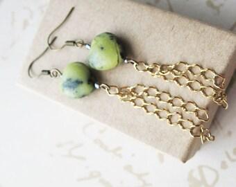 Stone Chain Earrings Fossil Jewelry for Women Boho Chic