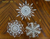 Crocheted Christmas Snowflake - Small Doily - Design Set 4 - Mix and Match Snowflakes