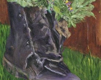 Old Work Boot with Violets 8x10 Canvas Giclee Print of Original Oil Painting by Kathleen Farmer Denver Artist