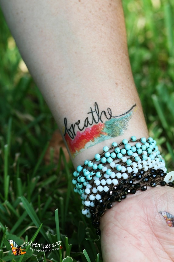 Breathe temporary tattoo - set of two
