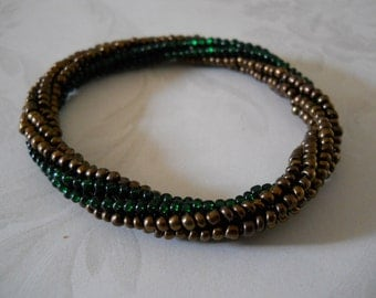 Beaded Bangle Bracelet in Bronze & Forest Green; Tubular Spiral Herringbone Stitch