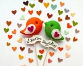 Personalized LOVE BIRDS Pair, Custom Color Unique Wedding Cake Topper, Wedding Party Decor, Wedding photo prop, Bird Theme Wedding Party