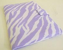 "Zebra Print 8.9"" Kindle Fire HD Cover Pastel Purple and White"