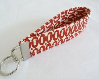 SALE Red and Cream Pezzy Wristlet Key Fob