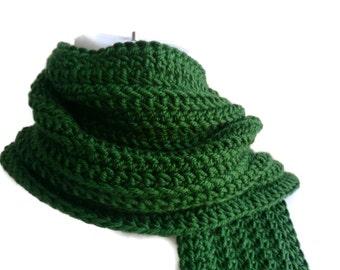 Pine Green Scarf Men Unisex Classic Crochet Dark Green GABLE Ready to Ship