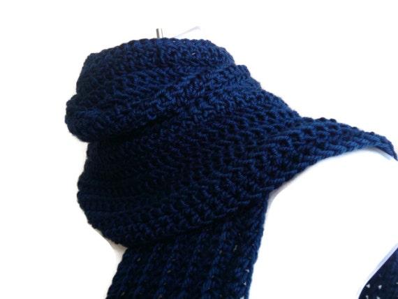 Dark Blue Scarf Navy Blue Crochet Indigo Vegan or Wool Scarf Men Unisex Women GABLE Ready to Ship - Autumn, Winter Fashion