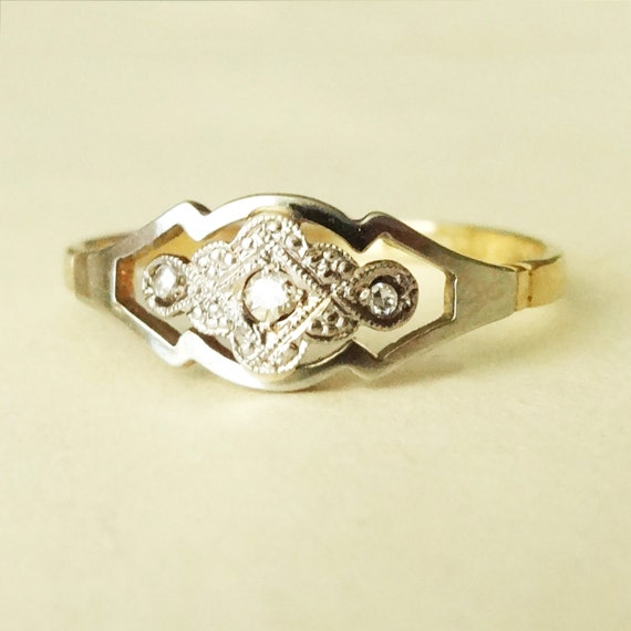 Art Deco Floral Geometric Diamond Engagement Ring, Diamond Platinum & 18k Gold Vintage Ring Size US 8 / 8.25