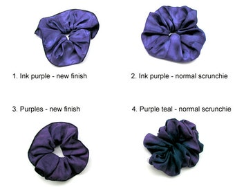One Hand Dyed Silk Scrunchie Scarf Shawl Slide, Purple Pony Tail Tie, Styling Wrap Hair Accessory, Hand Painted Silk. Choose your favorite.