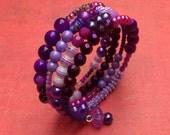 Purple Mixed Beads Memory Wire Bracelet - Stacked coils bangle in purple, mauve, lilac, magenta, pink, fuchsia - pretty boho beaded bangle
