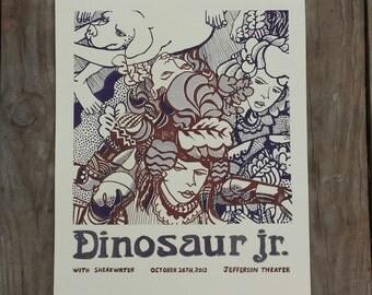 Dinosaur jr silkscreened poster from Jefferson theater charlottesville virginia