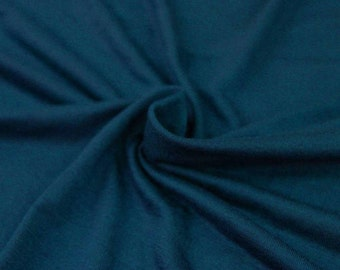 Teal cotton jersey knit fabric