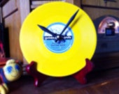 Alexander's Ragtime Band - Yellow Clock made from Vintage Golden Record
