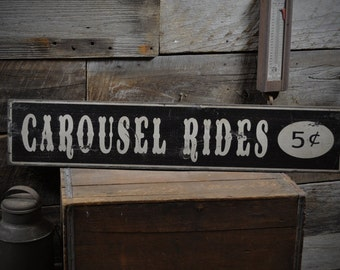 Carousel Rides 5 Cents Sign - Primitive Rustic Hand Made Vintage Wooden ENS1000272
