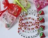 Sweet Summer Strawberry Charm Bracelet PERSONALIZED Children's Bracelet Party Favor Infant Child Kid Adult Sizes