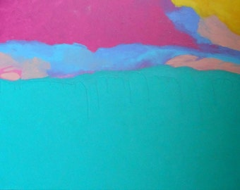 SALE Abstract Painting - Teal Pink Yellow Blue - Tolerance -  36 x 24 Original Art