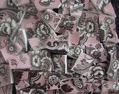 Mosaic Tiles Broken Plates Tesserae Art Supply Flower Pink Brown Spode Chintz Set Assortment