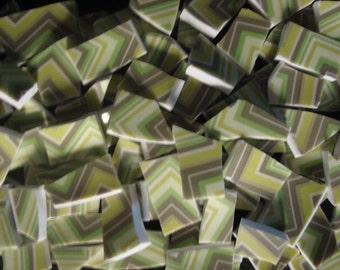 Mosaic Tiles Vintage Mix Broken Plate Art Hand Cut Tile Supply Green Zig Zag Chevron Stripe