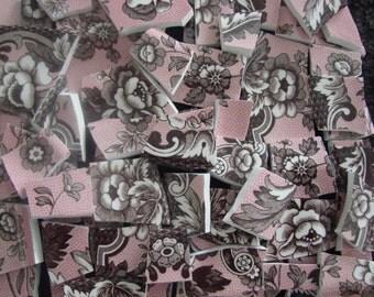 100 Mosaic Tiles Broken Plates Tesserae Art Supply Flower Pink Brown Spode Chintz Set Assortment