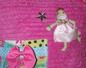 Boutique Chenille Tooth Fairy Pillow Ava Frog Princess Hot Pink Polka Dot