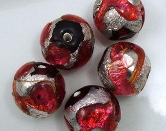 18mm Handmade Pink/Silver Foil Bead #XJH007