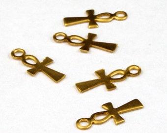 11mm Raw Brass Ankh (12 Pieces) #2604