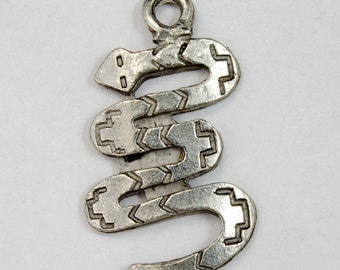 25mm Silver Snake Charm (2 Pieces) #2682