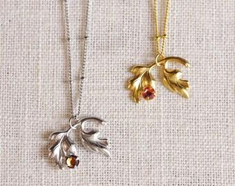 hawthorne gem // silver leaf necklace . gold leaf necklace . gemstone leaf necklace . simple leaf jewelry . nature inspired jewelry