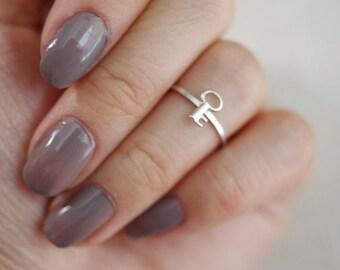 tiny key midi ring . skeleton key knuckle ring . skeleton key ring . vintage key ring . skeleton key stacking ring // 4TKEY