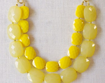 yellow statement necklace . ombre yellow colorblock necklace . yellow bridesmaid jewelry . yellow bridal party jewelry // WAKE-LH