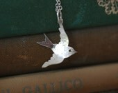 Handmade Large Silver Charm Necklace - Swallow