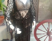 Witch Lace Shawl - Black Alpaca Handspun Handknit Triangular Shawl with Sari Silk Fringe and Mercury Black Beads