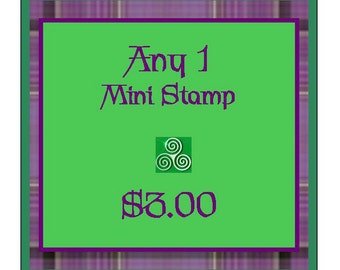 Choose Any Mini Stamp Huge Celtic Irish Scottish Welsh Collection Red Rubber on Wood Peg