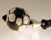 Soccer ball iphone charm smartphone dangle black white