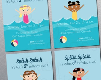 Girl Pool Party Invitation Printable Digital Invitation with Four Different Options Swim Party Birthday Party Invitation