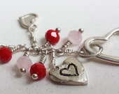 Triple Heart with Pink and Coral Swarowski beads Sterling silver Necklace