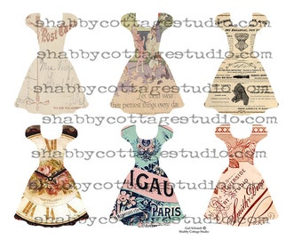 Party Dress Collection 1 Tags Ephemera INSTANT DOWNLOAD  DIGITAL Collage Sheet