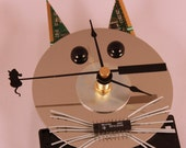 Computer Cat Wall Clock with Mouse Second Hand